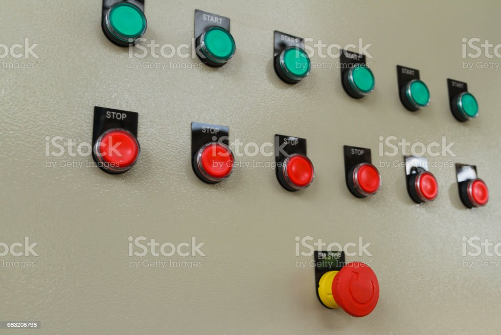 Red emergency and stop switch with green start buttons. royalty-free 스톡 사진
