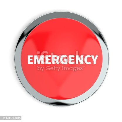Red Emergency Button Isolated on White Background 3D Render