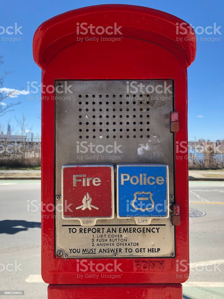 Red Emergency Call Box In New York City Stock Photo - Download Image
