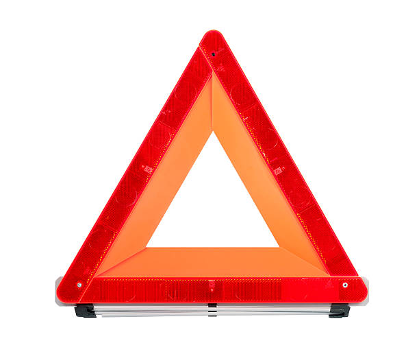 red emergency sign - triangle shape stock photos and pictures