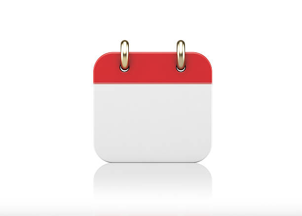 red empty calendar icon standing on white background - kalender icon stock-fotos und bilder