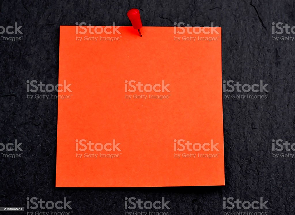 Red empty paper with pin stock photo
