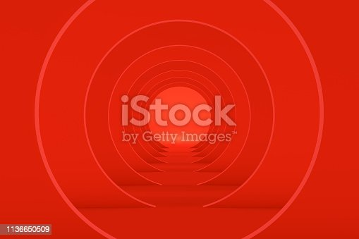 Built Structure, Tunnel on red background.