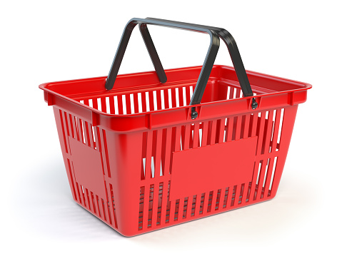 Red empty  shopping basket isolated on white background. 3d illustration