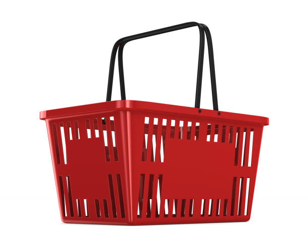 red empty shopping basket on white background. isolated 3d illustration - icona supermercato foto e immagini stock