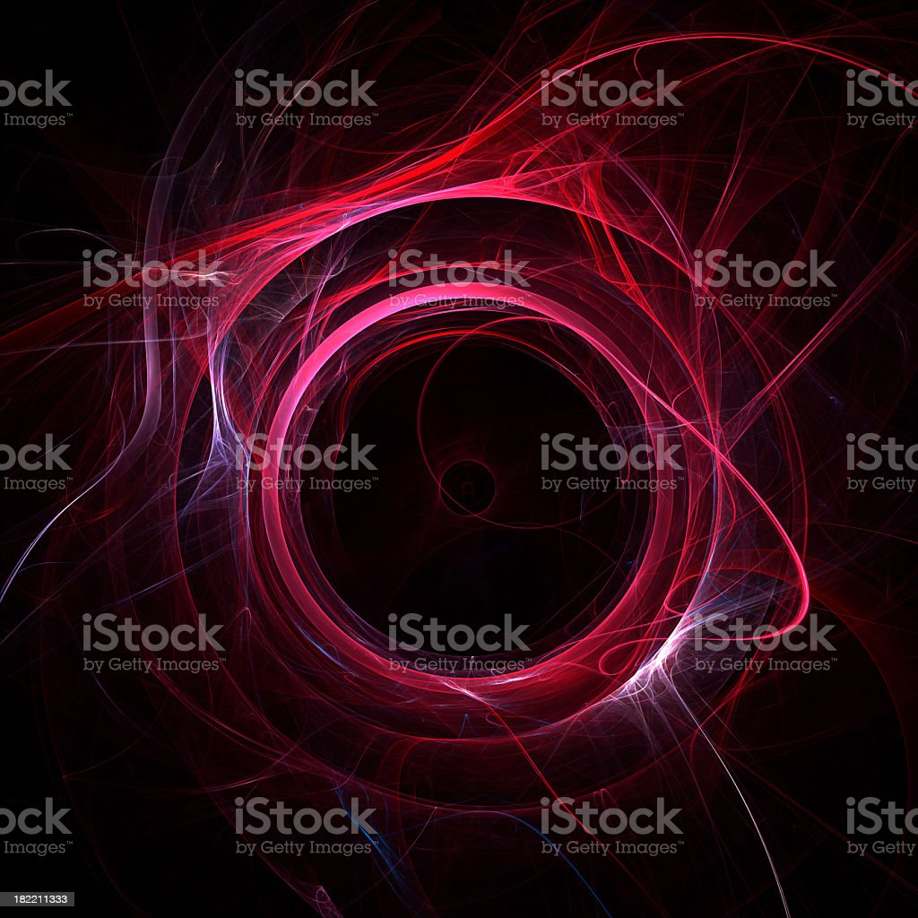 A red energy vortex circle on a black background royalty-free stock photo