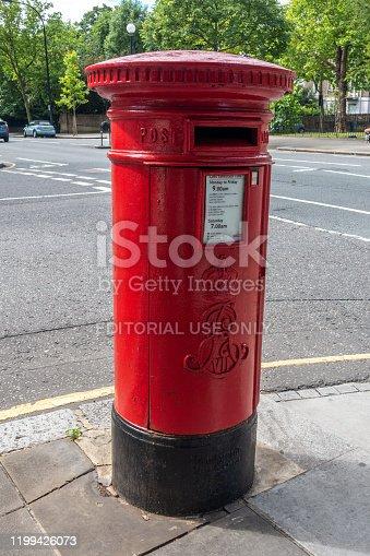 June 11, 2017 - London, United Kingdom: Red England Post Box in London, UK