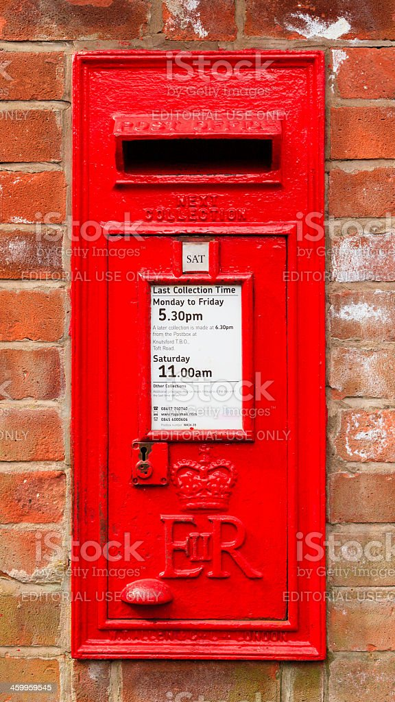 Red English letterbox stock photo