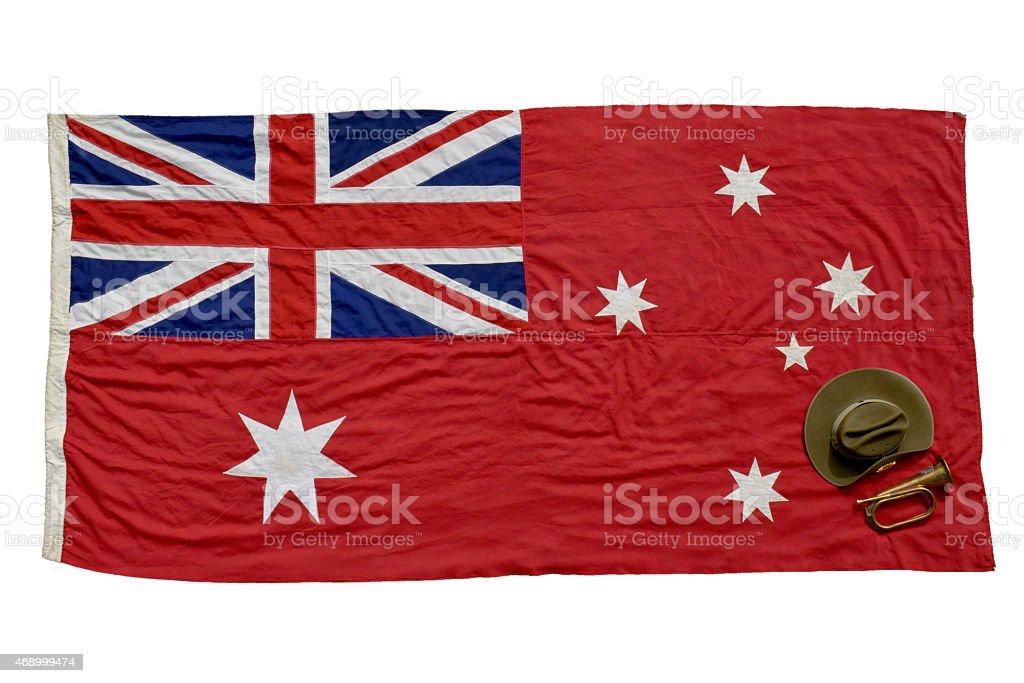 Ensign Bandiera Australiana Rosso Su Sfondo Bianco Fotografie
