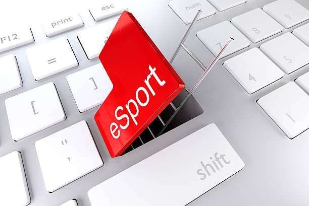 red enter key ladder esport 3d illustration - esports stock photos and pictures