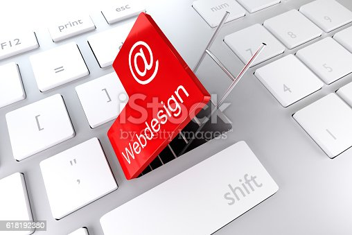 957759714istockphoto red enter key ladder webdesign 3D Illustration 618192380