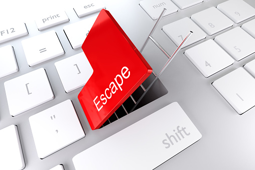 istock red enter key open with ladder in underpass escape 519547978