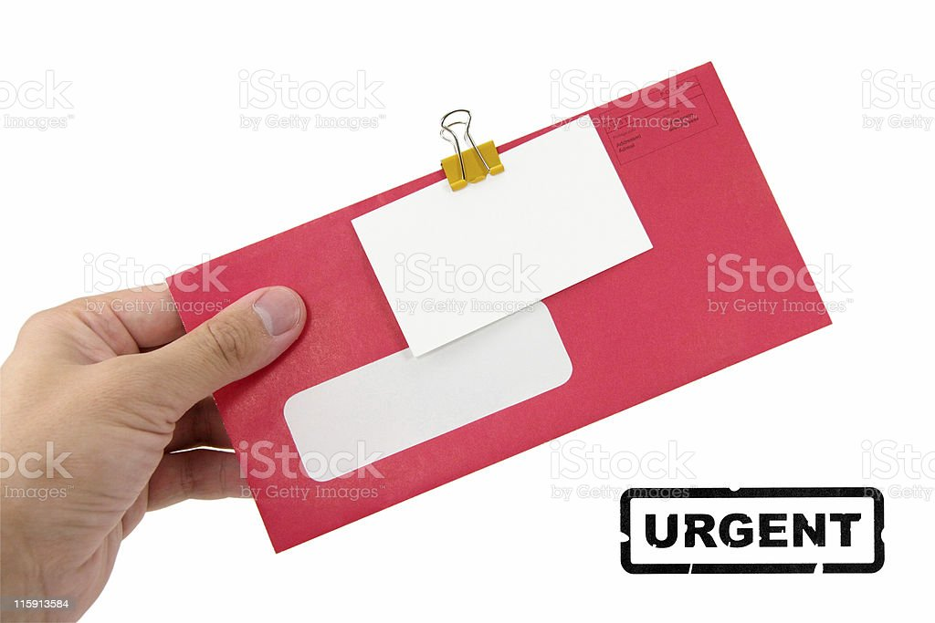 red envelope and blank business card stock photo