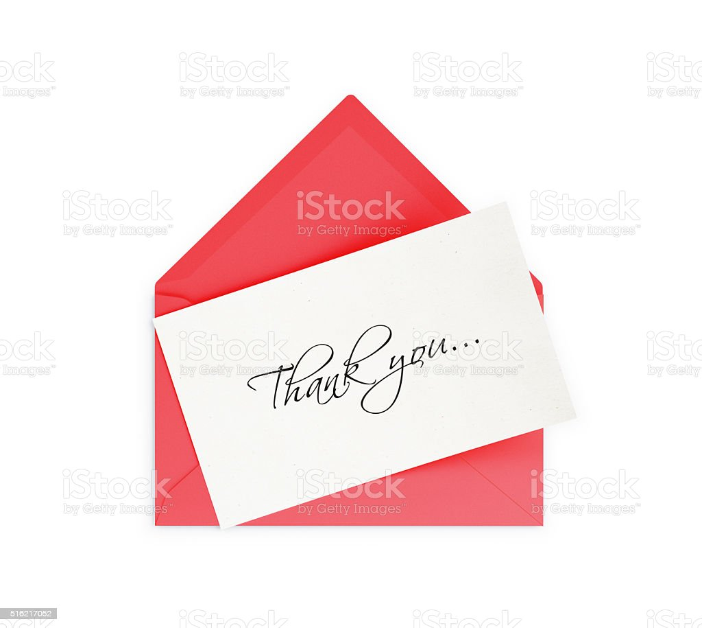 Red Envelope and Thank you Note stock photo