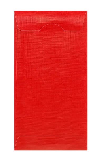 Red envelope isolated on white background stock photo