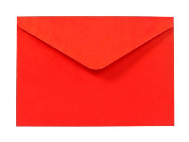 Red envelope on white stock photo