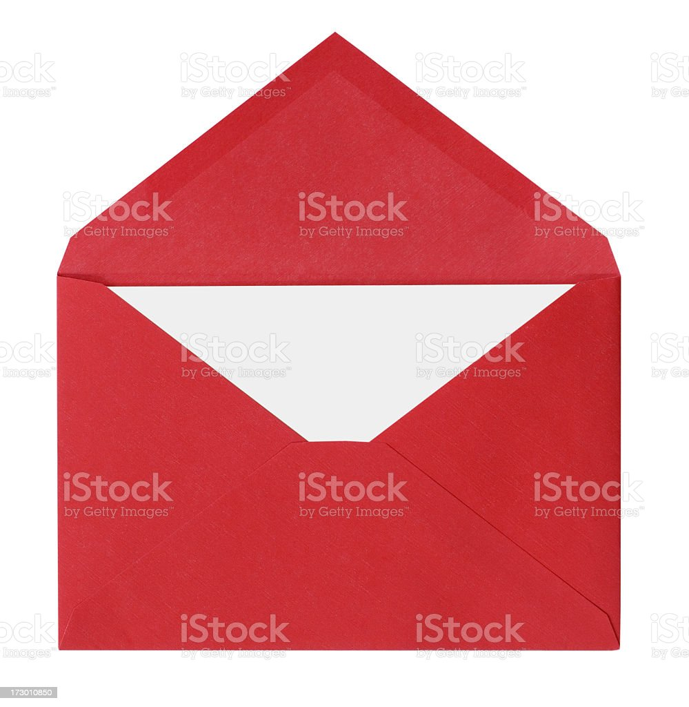 Red envelope with a white letter inside royalty-free stock photo