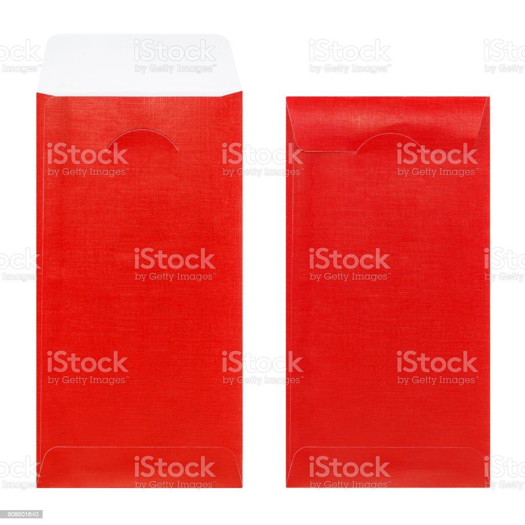 Roten Umschlag mit Papier isoliert auf weißem Hintergrund – Foto