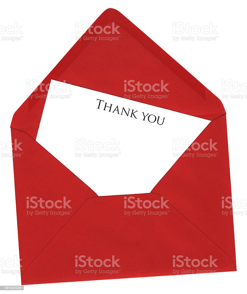 Red envelope with 'Thank You' card royalty-free stock photo