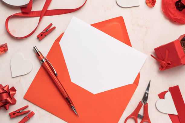 Red Envelope with White Card Mockup Blank stock photo