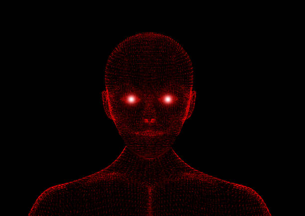 red evil. wireframe model with connection lines on black background, artificial intelligence in futuristic technology concept, 3d illustration - diabolic stock pictures, royalty-free photos & images