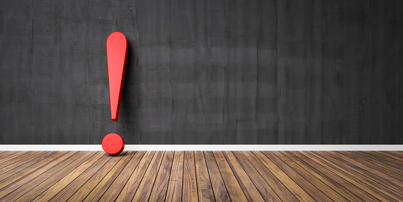istock Red exclamation mark on wooden floor and concrete black wall 3D Illustration Warning Concept 1202344337