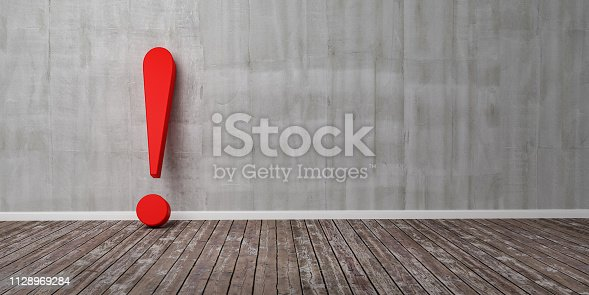 istock Red exclamation mark on wooden floor and concrete wall 3D Illustration Warning Concept 1128969284