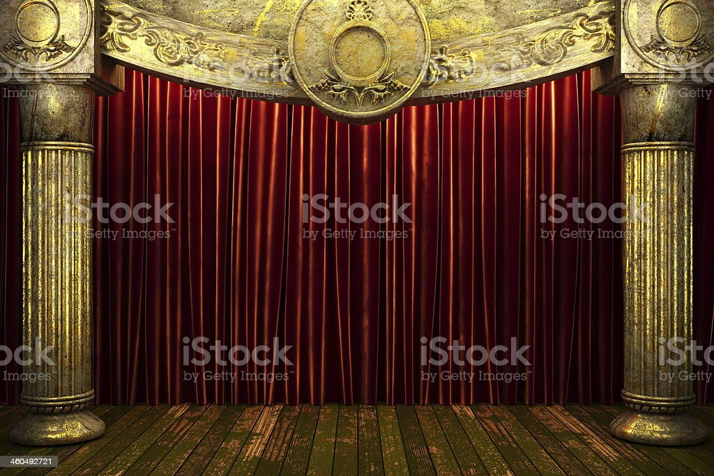 red fabric curtain on stage stock photo