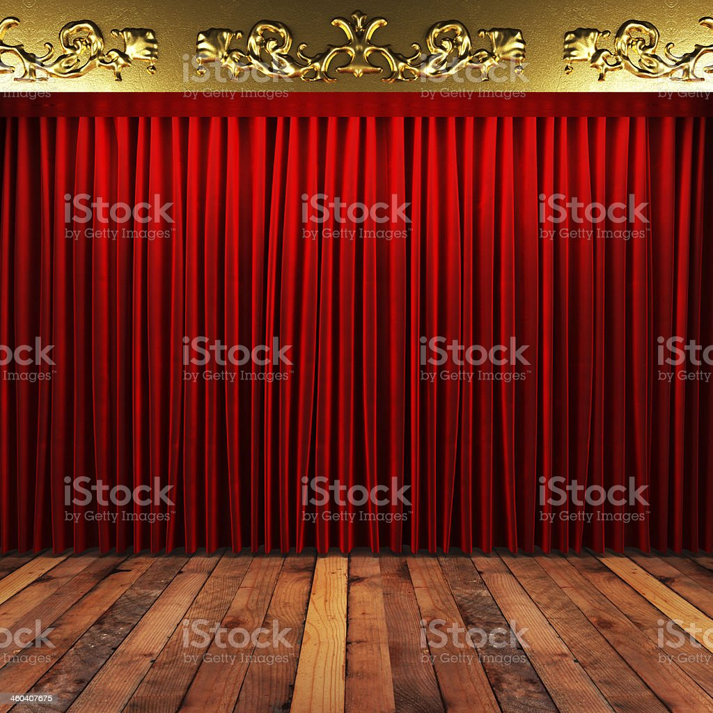 red fabric curtain with gold on stage stock photo