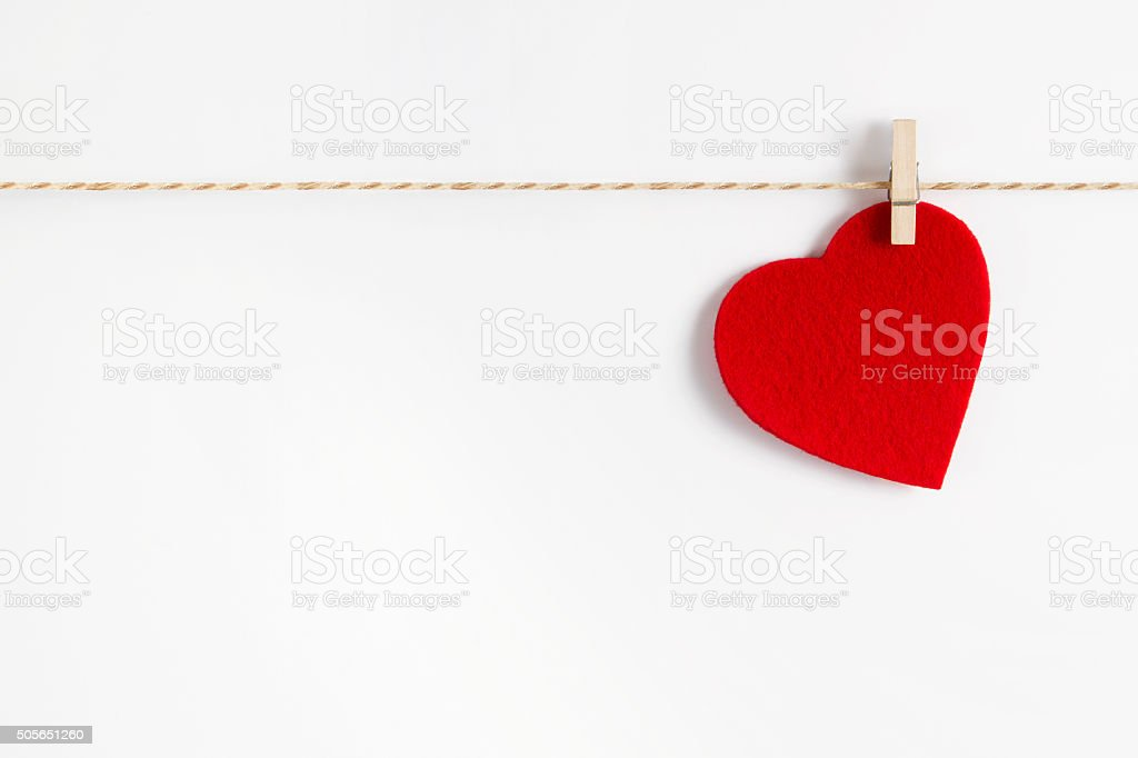 Red Fabric Heart for Valentine's Day stock photo