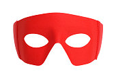 Red Fabric Hero Mask Isolated on White.