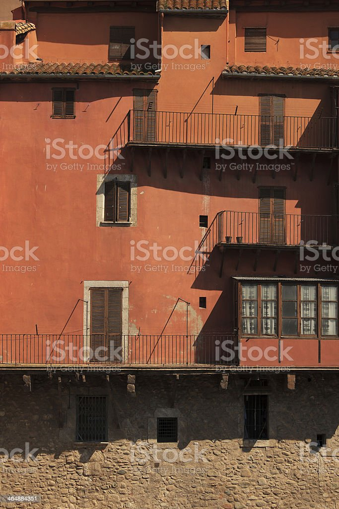 Red facade of the old houses royalty-free stock photo