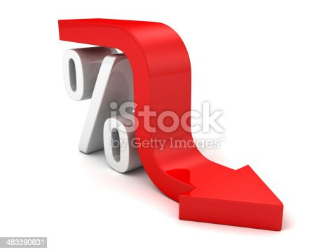 istock Red Fall Arrow Interest Percent Symbol. Financial Business Concept 483390631