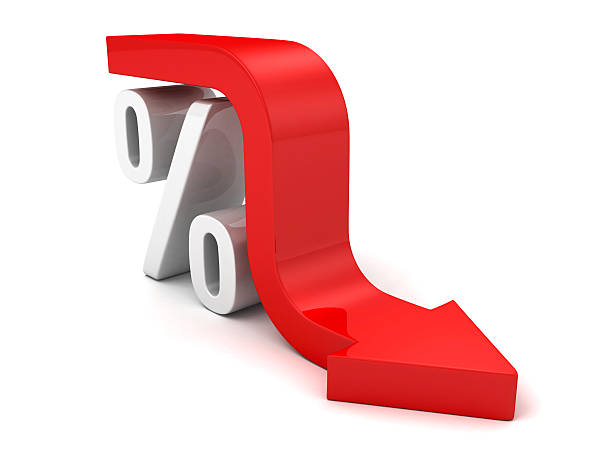 Roter Herbst Pfeil Interesse Prozent Symbol.  Finanzielle Business-Konzept – Foto