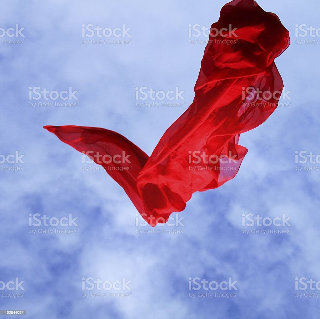 red falling satin stock photo