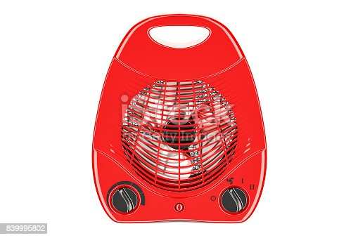 istock red fan heater closeup, 3D rendering isolated on white background 839995802