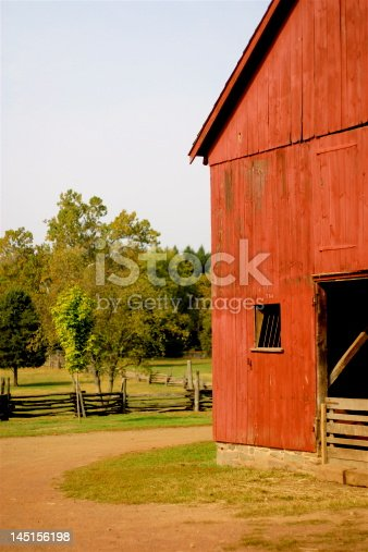 Red barn on the farm beautiful day in new jersey country side