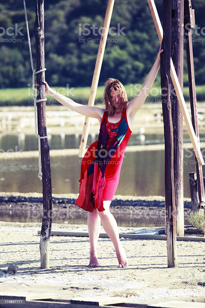 Red fashion on salt basin royalty-free stock photo