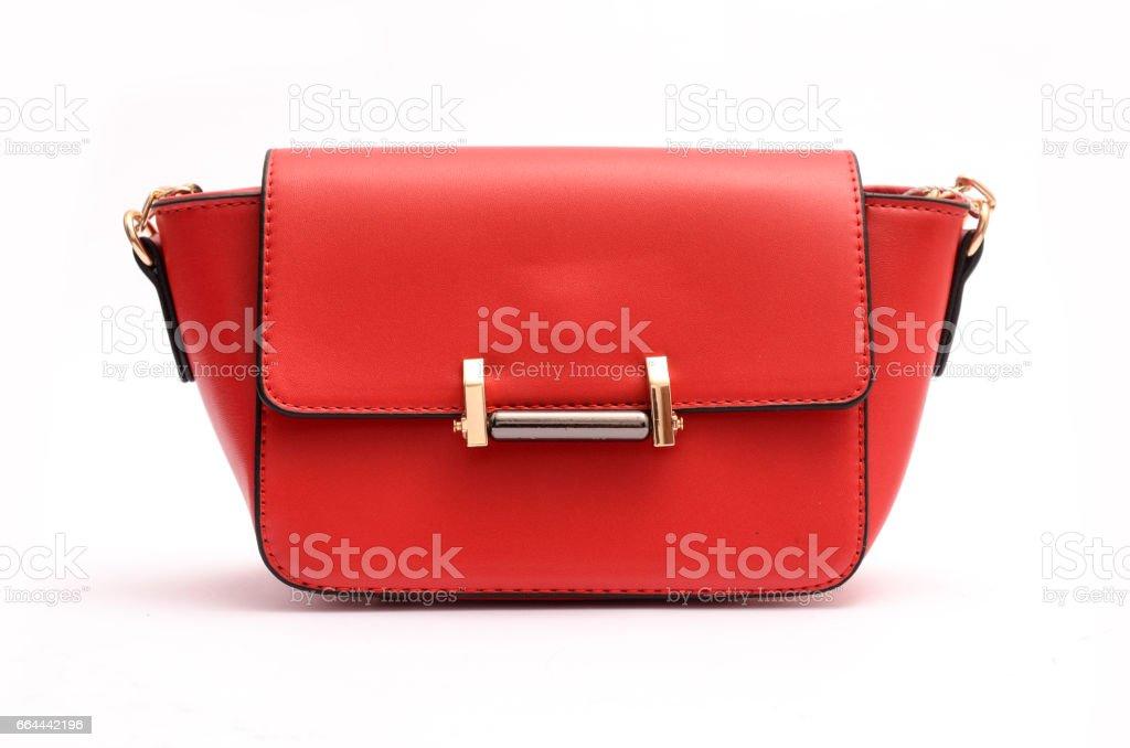 Red fashion woman clutch, ladies handbag stock photo