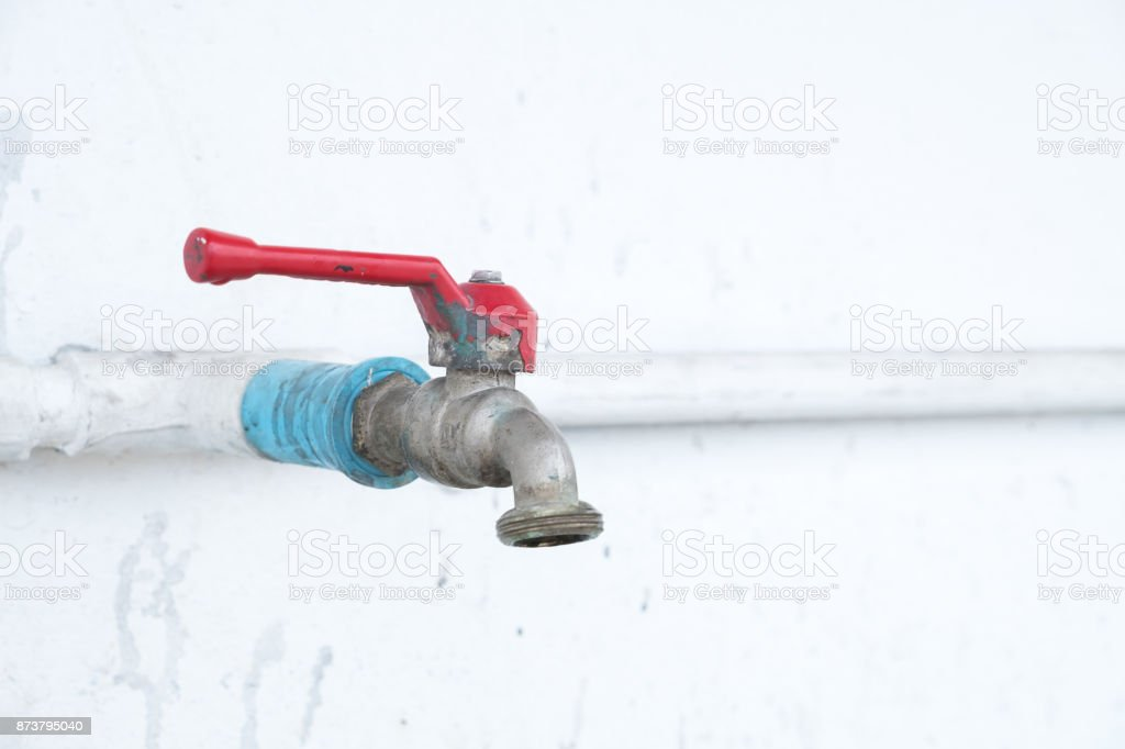 Red Faucet Handle Puller And Faucet Pipe Stock Photo & More Pictures ...