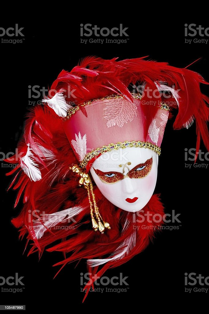 Red Feathered Venetian Mask royalty-free stock photo