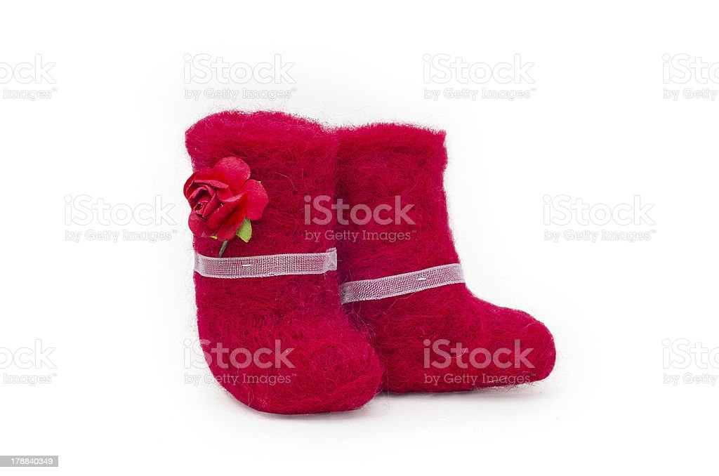 Red felt boots royalty-free stock photo