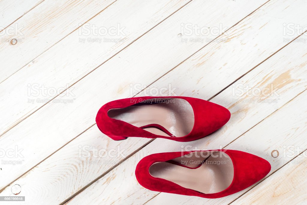 Red female shoes on high heels foto stock royalty-free