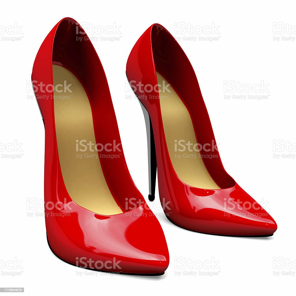 3D Red Female Shoes royalty-free stock photo