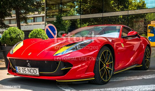 istock A red Ferrari 812 Superfast parked in front of Aro Palace Hotel. 1256643973