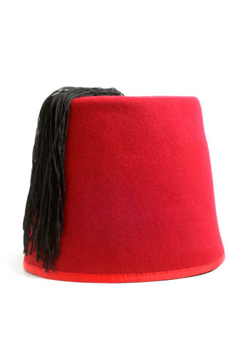 Red Fez Hat From Turkey Isolate On White Stock Photo & More