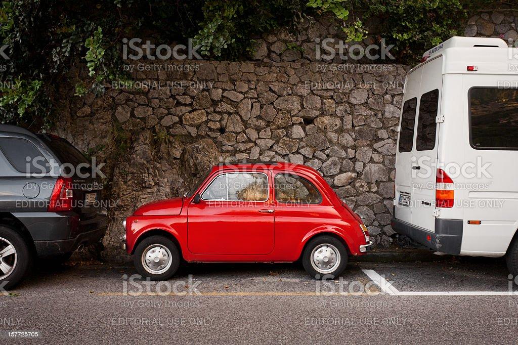 Rosso Fiat 500 Vintage di auto classiche - foto stock