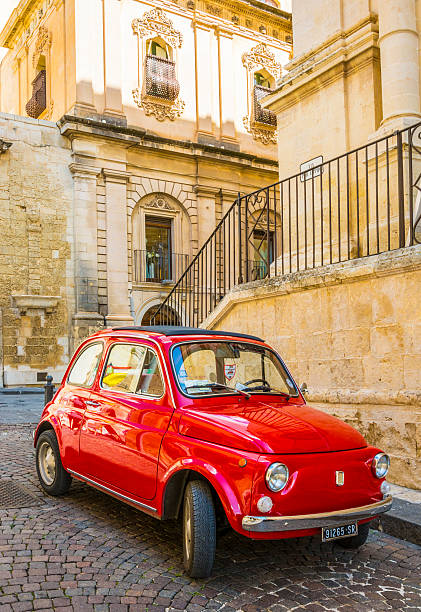 Red Fiat in Italy stock photo