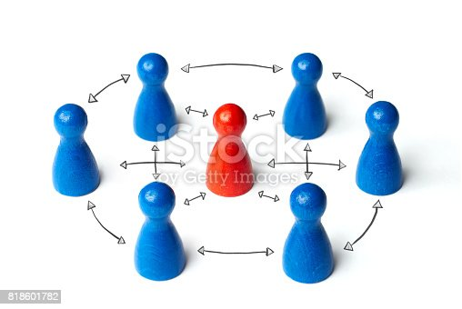 Red figure in the middle. Business concept for leadership, teamwork or groups. Isolated on white background