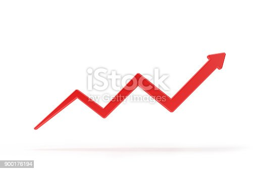 istock Red Finance Arrow Isolated On White BackGround. 900176194